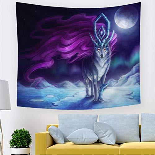Happves Tapiz Paño de Playa para Hombres y Mujeres Elegante decoración de la habitación Abstract Moon Snow Wolf Picnic Beach Sheet Table para Colgar en la pared-150x200cm
