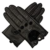 Harssidanzar Womens Luxury Italian Lambskin Leather Driving Gloves Unlined Vintage Finished Touchscreen Upgrade, Black, L