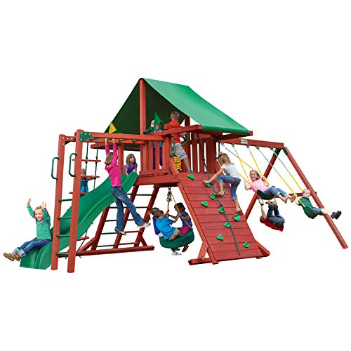 Gorilla Playsets 01-0011 Sun Valley II Wood Swing with Monkey Bars, Tire Swing, and Rock Wall, Redwood