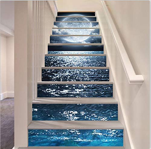 MISSSIXTY 13PCS/Set 3D Self-Adhesive Stair Risers Stickers Vinyl Staircase Stickers Stairway Decal Mural Wallpaper Home Decor 39.3 Inch x7.08 Inch (The Sea in The Moonlight)
