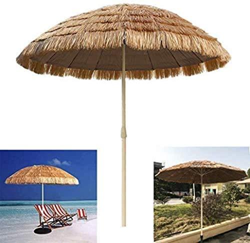 WENYAO Ombrellone da Giardino Ombrellone da 8,2 Piedi, Ombrellone da Spiaggia con Patio, Ombrellone in Paglia - Decorazione - Resistente ai Raggi UV (Colore: Bianco, Dimensioni: Senza Base)