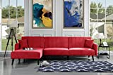 Futon Recliner Sleeper Sofa Bed, Convertible Red Futon Sofa Couch Sectional with Reversible Chaise,(Sofa to Bed Feature) Left or Right Modern L-Shaped Lounger Sectional Sofa & Fully Recline Chaise