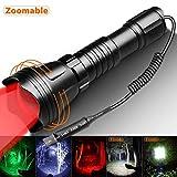 Odepro KL52 Plus zoombare LED Taschenlampe mit Rot und weissem Licht und Kabelschalter