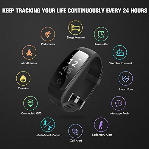 runme Fitness Tracker with Heart Rate Monitor, Activity Tracker Smart Watch with Sleep Monitor, IP67 Water Resistant Walking Pedometer with Call/SMS Remind for iOS/Android (Black(Gift Package))