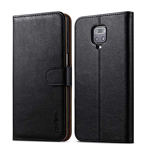Lanhiem Funda Xiaomi Redmi Note 9 Pro/Note 9S / Note 9 Pro MAX, Magnético Libro Caso Cubierta la Tapa Magnética de Billetera Cuero de la PU Carcasa, Negro