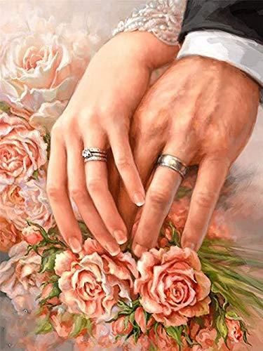 Kit de Pintura de Diamante 5D Taladro Redondo Completo Anillo de bodas Flores DIY Diamond Painting Kits Punto de Cruz Bordado Pinturas Cristal Diamante Arte para Adultos Regalos Pared 50x80cm dp434