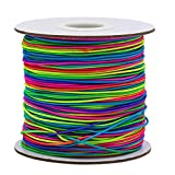 RIVERKING 1mm elastic cord,plastic colored beading elastic necklace rope,lanyard stretchy thread,craft string for jewelry making and bracelet making(rainbow, 100m)