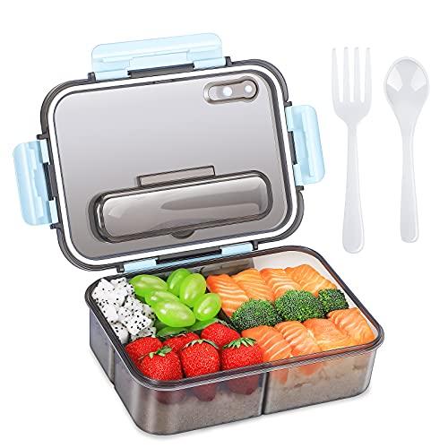 Boîte à bento pour adultes et enfants, boîte à lunch en plastique à emporter et boîte de rangement pour aliments, style bento polyvalent à 3 compartiments - 1500 ML - (bleu)