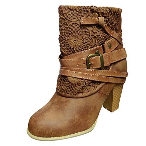 Damen Stiefeletten Spitzengürtelschnallenbündel Dicker Absatz Booten Obermaterial High Heels Boots