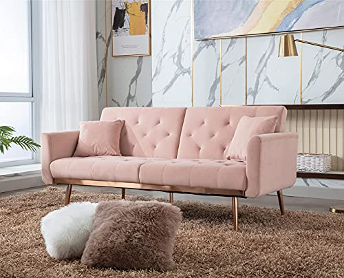 Velvet Futon Sofa Bed with 5 Golden Metal Legs, Sleeper Sofa Couch with Two Pillows, Convertible Loveseat for Living Room and Bedroom, Pink