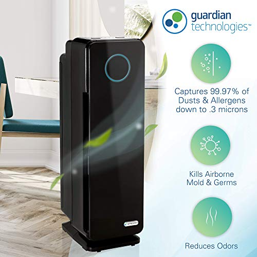 Germ Guardian True HEPA Filter Air Purifier, UV Light Sanitizer, Eliminates Germs, Filters Allergies, Pets, Pollen, Smoke, Dust, Mold, Odors, Quiet 22 inch 5-in-1 Air Purifier for Home AC4300BPTCA