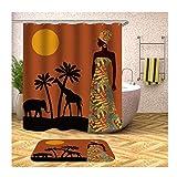 KnSam Cortina de ducha antimoho y resistente al agua, cortina para baño, cortina para cuarto de baño, 100% poliéster, incluye 12 anillas de cortina de ducha de 150 x 180 cm