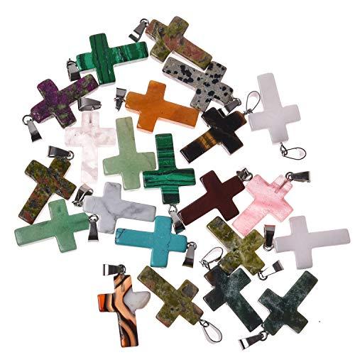 Asingeloo Bulk Wholesale 10PCS Colgantes de piedras preciosas cruzadas de colores surtidos para collar de bricolaje Fabricación de joyas Colgantes de cristal curativo de cuarzo cruzado