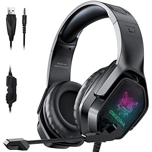 X4 Auriculares estéreo para videojuegos, cancelación de ruido con micrófono, auriculares sobre la oreja con luz LED, auriculares retroiluminados para gamer