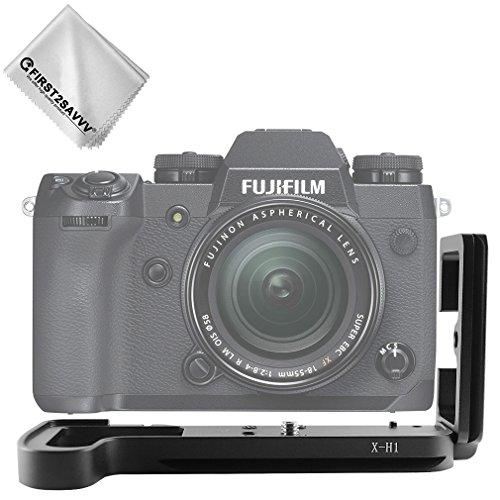 First2savvv Soporte de Forma L con Liberación Rápida y empuñadura Personalizada para Fuji Fujifilm X-H1 XH1 + Paño de Limpieza - LLX-XH1-01G11