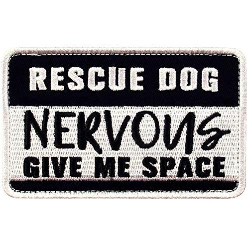 TailWag Planet Rescue Dog Nervous Give Me Space Morale Tactical Patch Embroidered Badge Fastener Hook & Loop Emblem