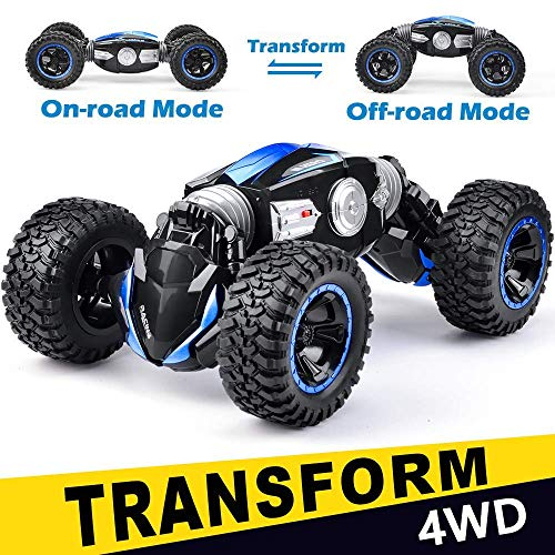NQD RC Car Off-Road Vehicles Rock Crawler 2.4Ghz Remote Control Car Monster Truck 4WD Dual Motors Electric Racing Car, Kids Toys RTR Rechargeable Buggy Hobby Car (Black+Blue)