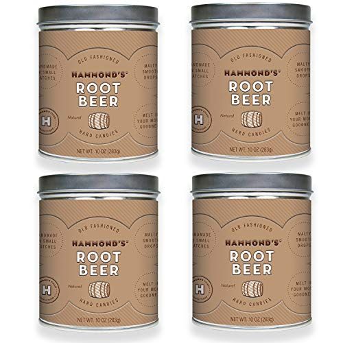 Hammond's Candies - Old Fashioned Root Beer Pantry Candies - 4 - 10 Ounce Tins, Natural Root Beer Drops, Handmade in Small Batches, Using the Finest Ingredients, Handcrafted in the USA