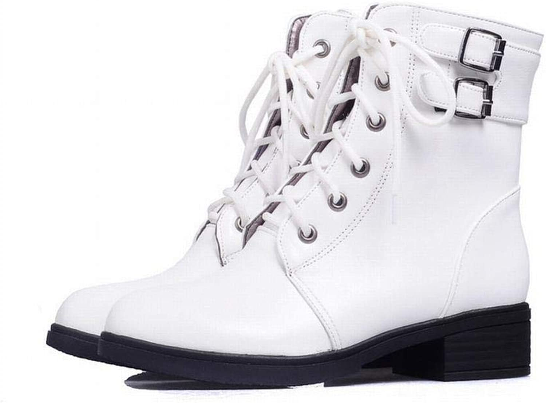 XZ Women's shoes - Autumn and Winter Plus Velvet Women's shoes Low-Heeled Lace Simple Short Large Size Women's Boots 35-43