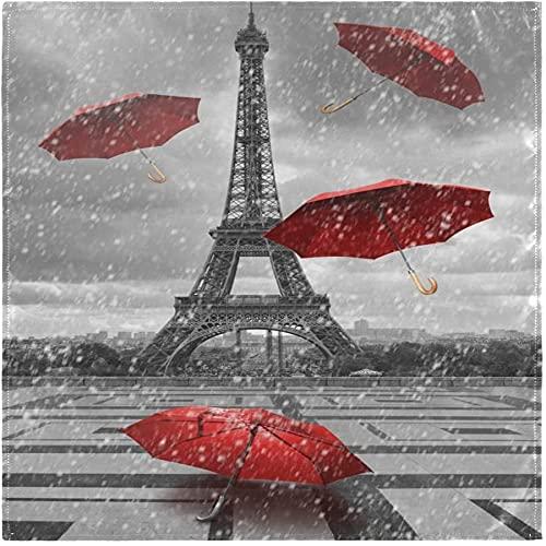 Juego de 4 servilletas de tela con sombrillas rojas de la Torre Eiffel de París, servilletas de poliéster lavables para cenar, servilletas de mesa suaves y reutilizables para el hogar, Navidad, fi