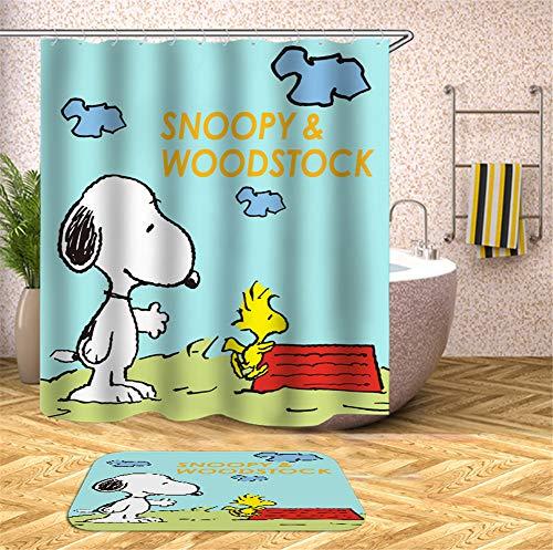 Kwboo Cartoon Dekoration. Snoopy Spielt Am Strand. Duschvorhang. Wasserdicht. Einfach Zu Säubern. 180X180Cm. Teppich. Plus Samt. rutschfest. 40X60Cm.