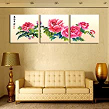 Prints on Canvas FYSKJDG 3 Sets Canvas Painting Red Style Flowers Art Cheap Picture Home Decor On Canvas Modern Wall Prints Artworks(No Frame)