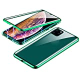 ErYao for iPhone 11Pro 5.8inch Magnetic Adsorption Case with Metal Bumper, 9H Double-Sided Transparent Tempered Glass Case,Shockproof,Scratch Resistant Case for iPhone 11Pro 5.8inch (Green)