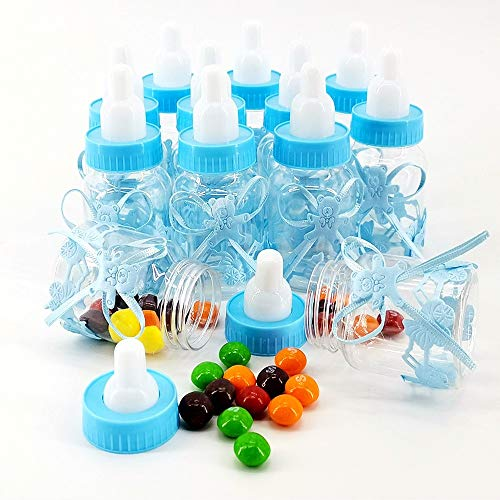 Taufe Junge Babyparty Deko Junge, Taufbonbons Flaschen Baby Shower GastegeschenkeTaufe, Deko Taufe Junge zur Erstkommunion, 24 Stück Bonboniere Gastgeschenke (Blau)