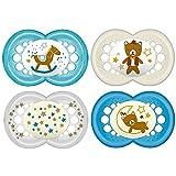 MAM Day & Night 6-16 mesi Ciuccio in silicone, set da 4 pezzi Boys, con 2 scatole sterilizzate