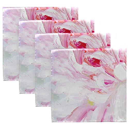 MNSRUU Pink und Weiß Pfingstrose Ölgemälde Tuch Servietten Abendessen Tisch Servietten waschbar...