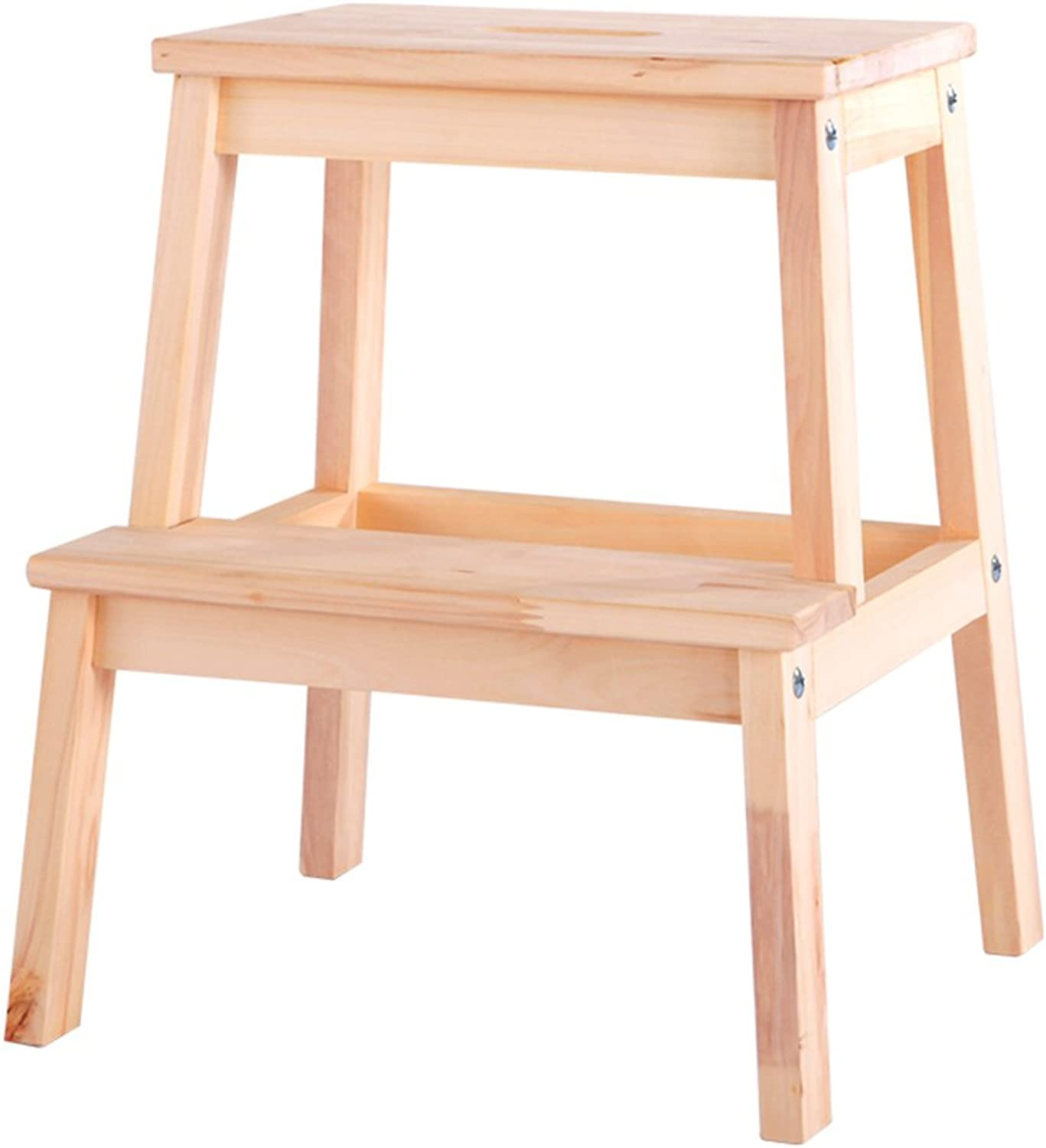 WUFENG Ladder Stool Small Stool Chair Non-Slip Firm Multifunction Household (color   Wood color, Size   45x50cm)