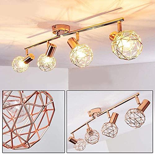 Justn Lámpara de techo, foco ajustable, 4 llamas, metal de cobre, 2 enchufes E14, máximo 40 W, retro (4 focos).