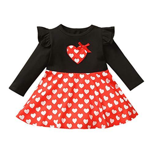 Vestidos Bebe Niña Día de San Valentín Estampado de Corazón de Amor Manga Larga Ropa Bebe Recien Nacido Niña Vestido para Niñas Infantiles (Negro, 3-4 años)