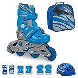 [page_title]-JAMBACH Kinder Inliner Inline Skates für Anfänger verstellbar Set Triskates mit Schutzset Helm Rucksack Rollschuhe Mädchen Jungen (S (30-33), blau)