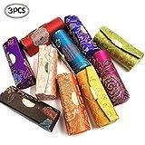 Estuche de lápiz labial con espejo, 3 piezas de colores al azar con patrón de flores de seda estilo chino vintage bolsa de lápiz labial portátil regalos para niñas mujeres
