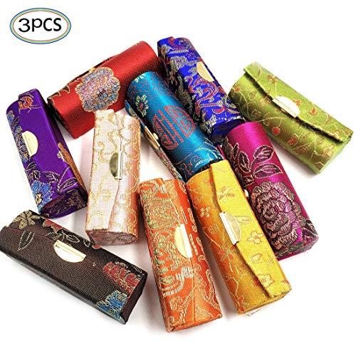 Lippenstiftbox mit Spiegel 3 Stücke Set Seide Oberfläche Lippen Hülle in Handtasche und Kosmetiktäschchen Geschenk für Damen Zufällige Farben