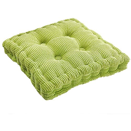 XNDCYX Chair Cushion, Chair Pad Cushion, Square Thickened Wicker Seat Cushions Soft Corduroy Cotton Filled Wicker Cushions Outdoor Blue, for Home Office Dinning Chair, Set of 2,Green