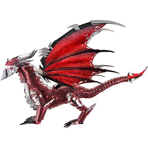 DIY Modelo 3D Kit Toy Black Dragon Metal Puzzle DIY Assemble Jigsaw Toy Decoración de Escritorio Auditoría Juguetes para niños, 23.5x21x13cm