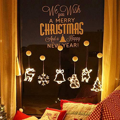 Anyingkai 6pcs Saugnapf Lichterkette,Saugnapf Lichterkette Fenster, Sauger Lichterkette,Saugnapf Lichterkette Weihnachten,Led Saugnapf Weihnachten,Saugnapf Led Deko