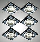 Trango 6 set Faretto a LED da incasso in vetro nero e allu TG6736S-06MOSD incl. Illuminante modulo LED ultrapiatto dimmerabile a 3 livelli 3000K bianco caldo, apparecchio da incasso, plafoniera