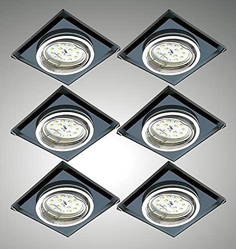 Trango 6736S-06GUSD Lot de 6 spots de plafond LED *BLACK CRISTAL* noir découpé à la main y compris 6 ampoules LED GU10 dimmables en 3 étapes 3000K blanc chaud, éclairage encastré, plafonnier