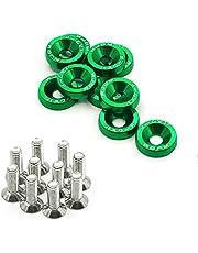 Universal 10 * Car Styling Arandelas aluminio anodizado Pernos acero M6x20(Verde)