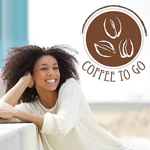 Coffee to go - Autocollant Mural Rond - Sticker Mural Blanc 75 x 87 cm (Muraux Décoration Murale Stickers Wall Decal Autocollants Salon Chambre d'enfants Nursery Made in Germany)