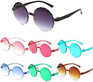 FA.cbj3 - 7 gafas de una sola pieza, sombras de gelatina, gafas de sol de flores de color caramelo para niños, gafas redondas de playa, gafas casuales de plástico para niños, gafas lindas