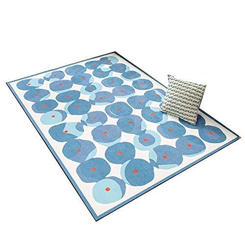 ACZZ Alfombra tradicional, patrón simétrico azul Sofá Mesa de café alfombra de la sala dormitorio del hogar antideslizante estera del resbalón fácil de limpiar Longitud 80-140Cm fácil de limpiar,D,12