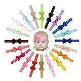 Vendas del Pelo de la Venda de Las Muchachas del bebé del Bowknot de la Cinta del Grosgrain Stretch para los niños pequeños 20pcs …