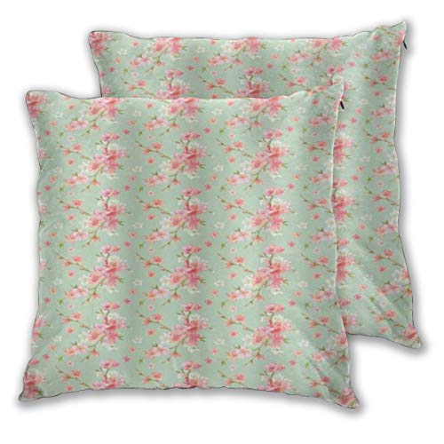 KASABULL Throw Pillow Covers Set of 2 Shabby Flora Retro Spring Blossom Flowers With French Garden Florets Garland Artisan Pillowcase Decorative Cushion Cover without Pillow 60cm x 60cm