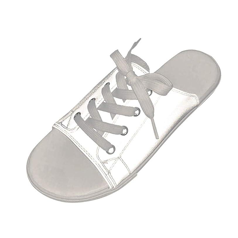 不正直パドルどこカップルは靴を照らす スリッパシューズ サンダル フラットビーチシューズ 魚の口の靴 輝くサンダル フラットスリッパ レースアップビーチサンダル
