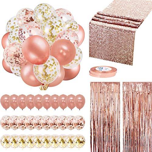 35 Pzas Decoracion Cumpleaños Oro Rosa Globos Cumpleaños Corredor de Mesa Globos Confeti Oro Cortina de Flecos para Bodas Baby Shower Navidad Decoración Comunion Niña Kit Cumpleaños Oro Rosa