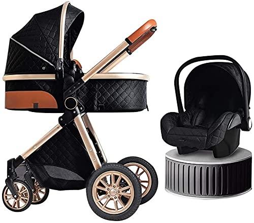 3 en 1 cochecito de bebé recién nacido a un niño de diseño de lujo jersey cochecito de lujo viaje plegable doble absorción de choque carro, organizador de cochecito grande bolsa de lluvia, cesta